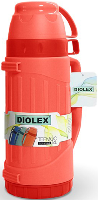 Термос Diolex, цвет: красный, 1 лDXP-1000-1-RТермос DIOLEX пластиковый со стеклянной колбой 1000 мл.красный
