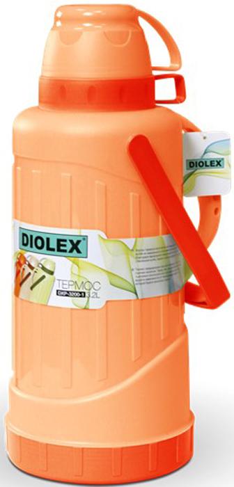 Термос Diolex, цвет: красный, 3,2 лDXP-3200-1-RТермос Diolex пластиковый со стеклянной колбой 3200 мл