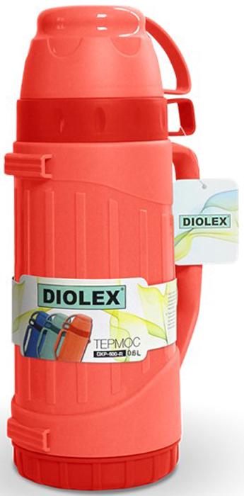 Термос Diolex, цвет: красный, 600 мл505490ТТермос Diolex пластиковый со стеклянной колбой. Крышка термоса выполнена в виде кружки. Удобный, компактный и практичный термос пригодится в путешествии, походе и поездке.