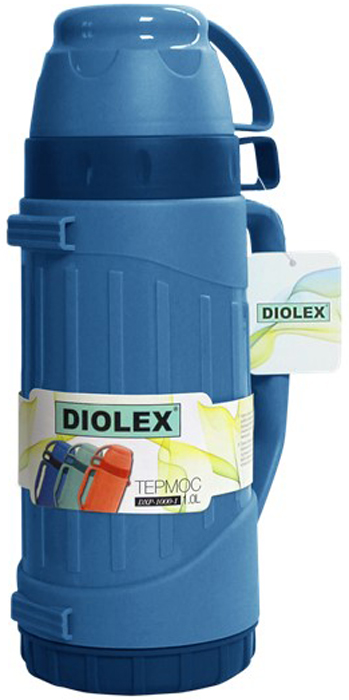 Термос Diolex, цвет: синий, 1 лDXP-1000-1-BТермос DIOLEX пластиковый со стеклянной колбой 1000 мл.синий