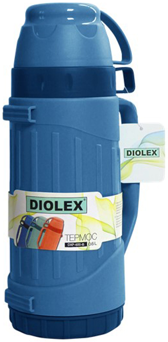Термос Diolex, цвет: синий, 600 млDXP-600-1-BТермос Diolex пластиковый со стеклянной колбой 600 мл (синий)