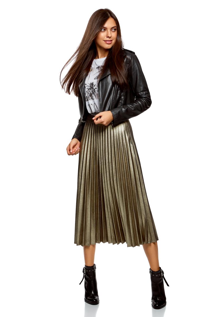 Юбка oodji Collection, цвет: черный, золотистый металлик. 21606020-6/47588/2993X. Размер 42-170 (48-170) платье oodji collection цвет черный белый 24001104 1 35477 1079s размер l 48