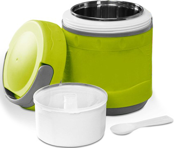 Термос пищевой вакуумный с колбой из нержавеющей стали в пластиковом корпусе предназначен для хранения горячих первых и вторых блюд. Сохраняет напитки и продукты горячими на 12 часов или холодными на 24 часа. Термос имеет удобную ручку для переноски.В комплект входят чашка и ложка из пластика.