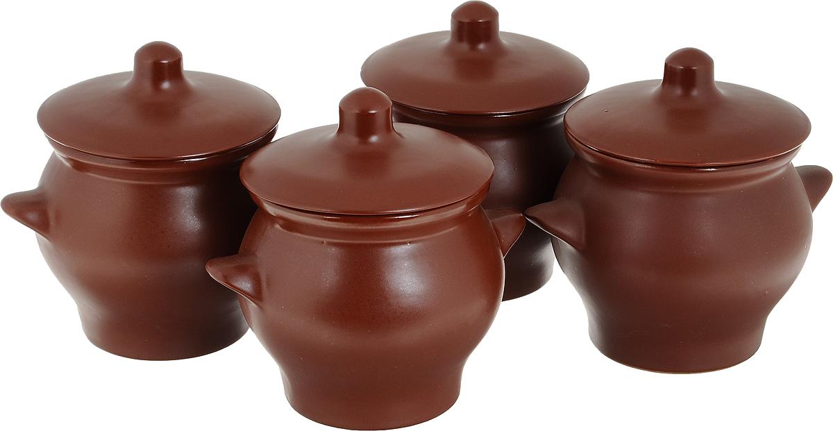 Набор горшочков для запекания Борисовская керамика Шелк, 650 мл, 4 шт набор горшочков для запекания борисовская керамика стандарт с крышками цвет коричневый зеленый белый 500 мл 4 шт