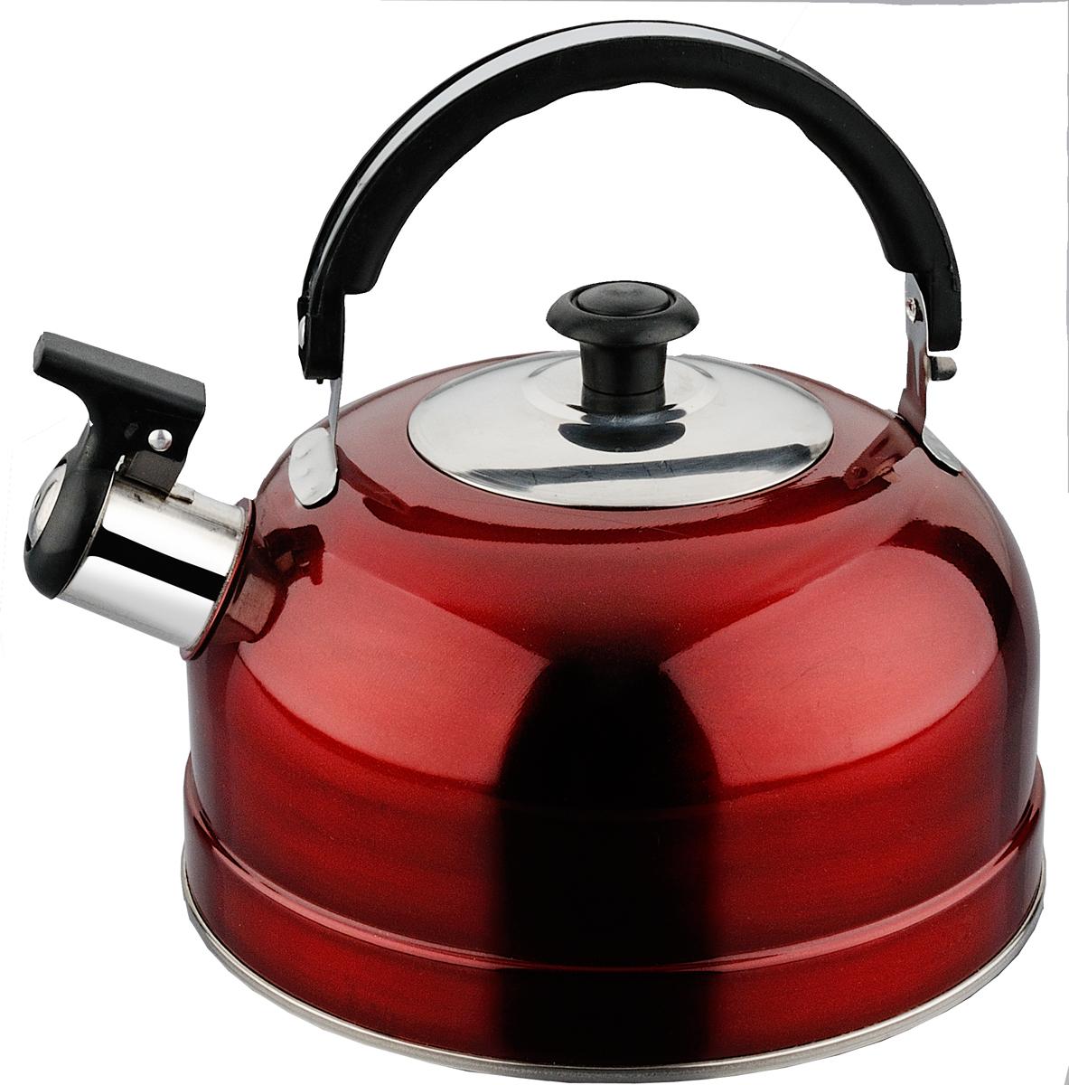 Чайник Irit, со свистком, цвет: красный, 2,5 л чайник lumme со свистком цвет золотистый 1 8 л