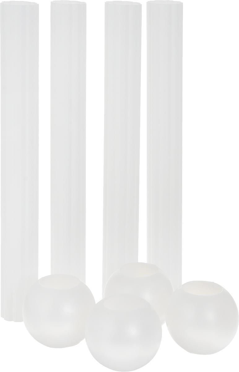 Набор для многоуровневой подставки под торт Wilton Спрятанная трубочка, 8 предметовWLT-303-822Набор Wilton Спрятанная трубочка, выполненный из высококачественного пластика, состоит из 4 трубочек и 4 шаров. Он предаст вашему торту удивительный и необычный вид. Трубочки при желании прячутся в кондитерские изделия или в декоративные шары для дополнительной поддержки.Длина трубки: 22,7 см.Диаметр трубки: 3,7 см.Диаметр шара: 5 см.Диаметр отверстия в шаре: 2,7 см.