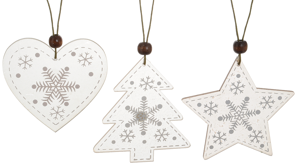 Набор новогодних подвесных украшений House & Holder Новогодний, цвет: серый, белый, 3 штDP-C40-13-15948_серый, белыйНабор подвесных украшений House & Holder Новогодний прекрасно подойдет для праздничного декора новогодней ели. Набор состоит из 3 пластиковых украшений. Для удобного размещения на елке для каждого украшения предусмотрено петелька. Елочная игрушка - символ Нового года. Она несет в себе волшебство и красоту праздника. Создайте в своем доме атмосферу веселья и радости, украшая новогоднюю елку нарядными игрушками, которые будут из года в год накапливать теплоту воспоминаний. Откройте для себя удивительный мир сказок и грез. Почувствуйте волшебные минуты ожидания праздника, создайте новогоднее настроение вашим дорогим и близким.