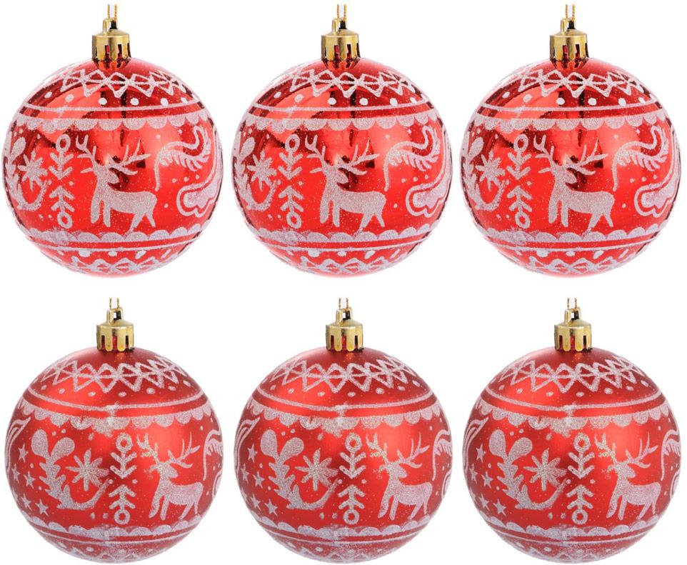 Набор новогодних подвесных украшений Sima-land Зимний олень, цвет: красный, диаметр 7 см, 6 шт2122941