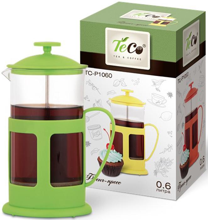 Френч-пресс Teco, цвет: зеленый, 600 млTC-P1060-G(зеленый)Френч-пресс TECO 600 мл из пластика и стекла цветной (зеленый