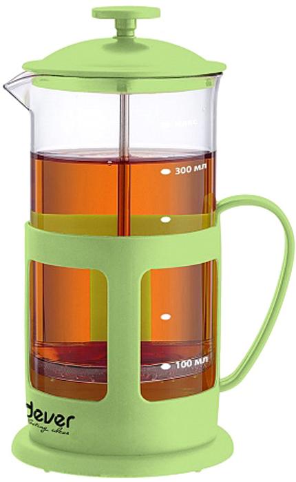 Френч-пресс Endever EcoLife, цвет: зеленый, 350 мл. FP-352FP-352Френч-пресс Endever EcoLife позволит быстро и просто приготовить свежий и ароматный чай или кофе. Каркас изготовлен из высокопрочногопластика, устойчив к деформации и коррозии, а не нагревающаяся ручка сделает использование френч-пресса более безопасным. Колбавыполнена из термостойкого боросиликатного стекла нового поколения. Фильтр-поршень изготовлен из нержавеющей стали. Форма носика -антикапля препятствует образованию подтеков.Френч-пресс Endever незаменим для любителей чая и кофе.