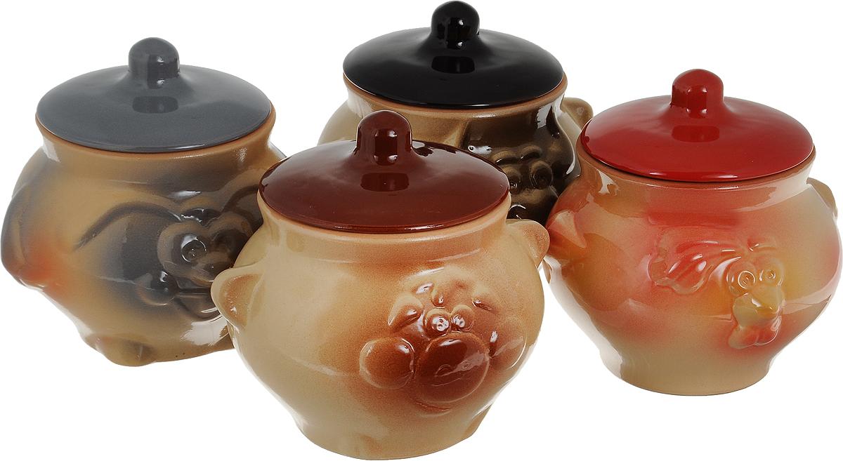 """Набор """"Борисовская керамика"""" состоит из  4 горшочков для запекания с крышками. Горшочки с  крышками выполнены из высококачественной керамики.  Уникальные свойства красной глины и толстые стенки  изделия обеспечивают """"эффект русской печи"""" при  приготовлении блюд. Блюда, приготовленные в  керамическом горшке, получаются нежными и сочными. Вы сможете приготовить мясо, сделать  томленые овощи и все это без капли масла. Это один из самых здоровых способов готовки.  Можно использовать в духовке и микроволновой печи."""