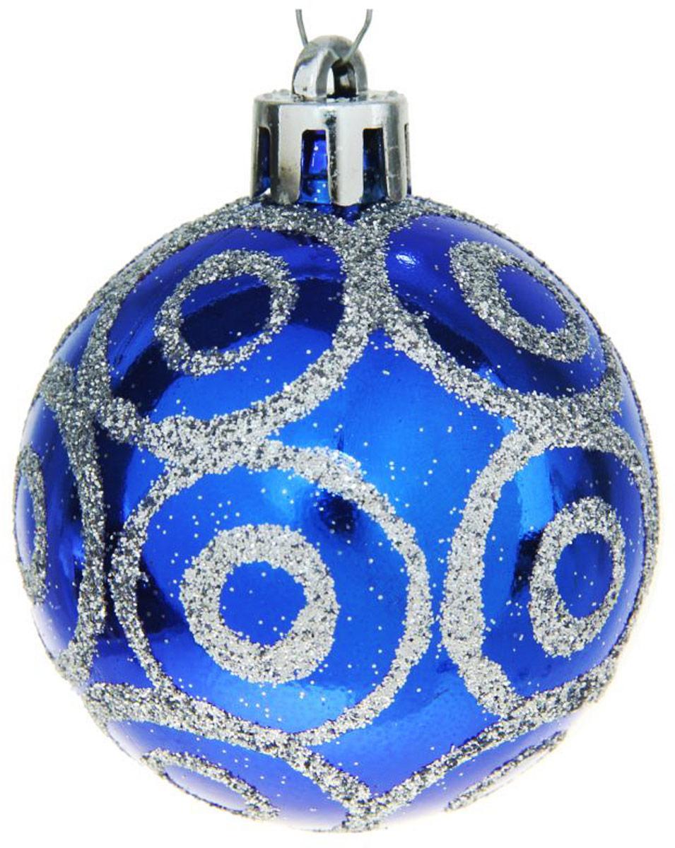 Набор новогодних подвесных украшений Sima-land Круги, цвет: синий, диаметр 4,5 см, 12 шт чайник заварочный sima land риштан цвет синий белый зеленый 400 мл