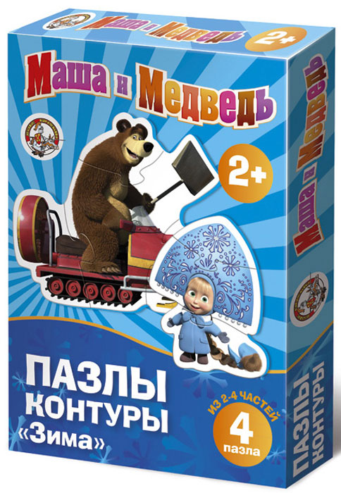 Маша и Медведь: Зима. Пазл-контур 4в1, 11 элементов