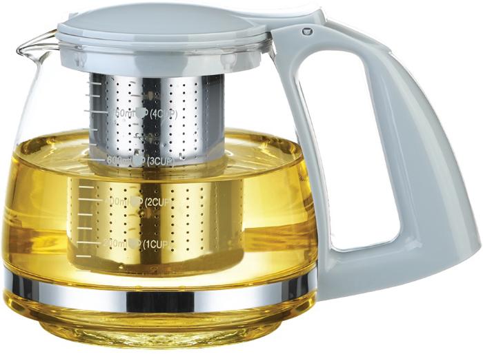Чайник заварочный Teco, цвет: прозрачный, серый, 750 мл. TC -302TC -302Корпус заварочного чайника Teco изготовлен из термостойкого стекла, на котором изображена шкала измерения объема жидкости внутри чайника, благодаря прозрачности стекла, удобно оценить степень заваривания напитка. Крышка и ручка изготовлены из пищевого пластика, крышка легко открывается путем простого нажатия пальцем на специальный рычажок.В комплект также входит сито из нержавеющей стали, которое предотвращает попадание чайных листьев в напиток.Высота: 13,5 см.Объем: 750 мл.
