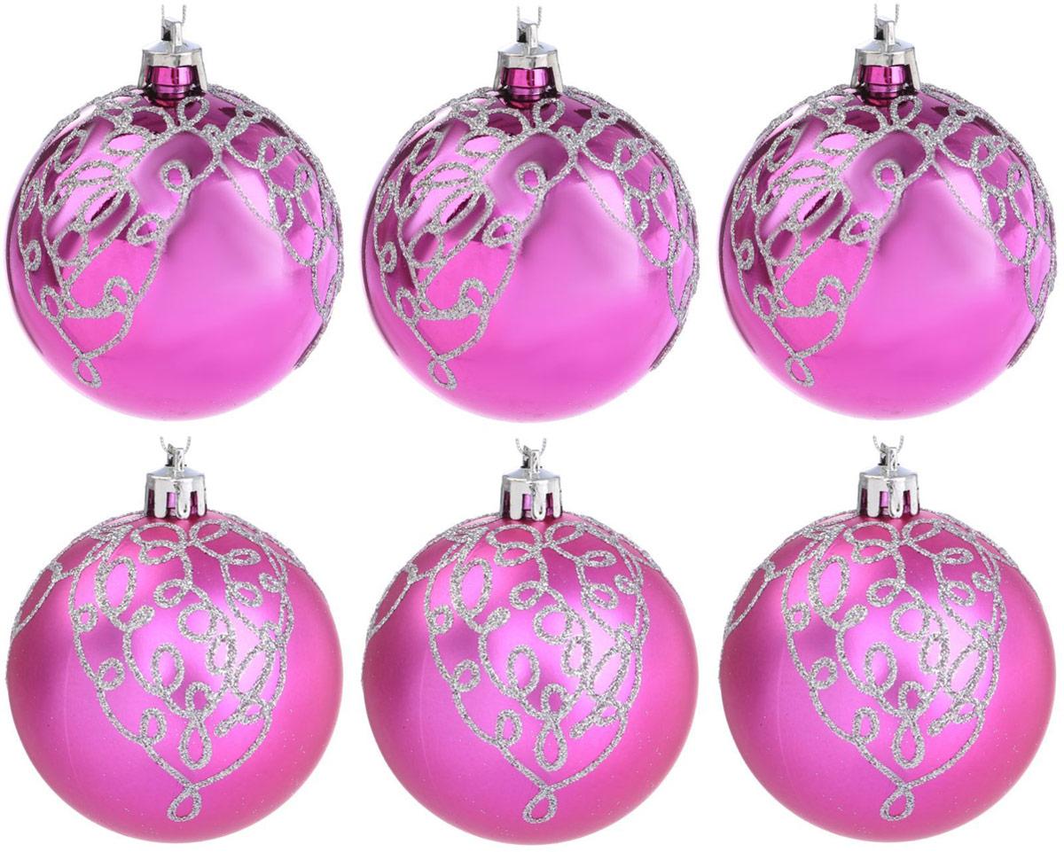 Набор новогодних подвесных украшений Sima-land Метель, цвет: малиновый, диаметр 7 см, 6 шт2122951