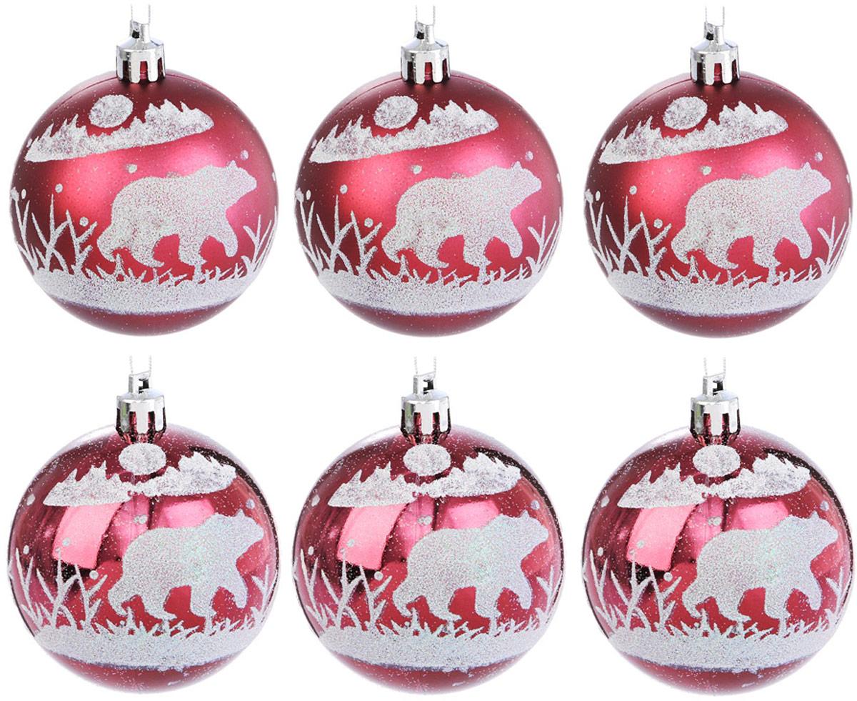 Набор новогодних подвесных украшений Sima-land Северный мишка, цвет: бордовый, диаметр 7 см, 6 шт2122946Елочная игрушка - символ приближающегося праздника. Она послужит прекрасным подарком как для ребенка, так и для взрослого, а также дополнит новогодний интерьер. Шары будут отлично смотреться на праздничной елке.