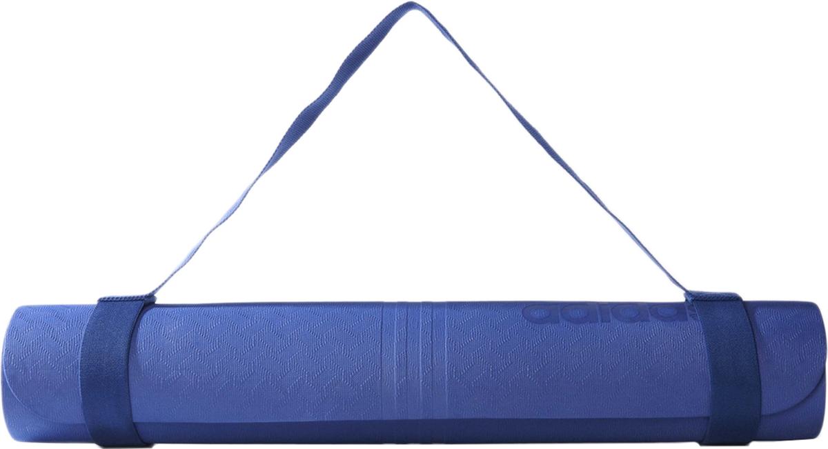 Мат для йоги  Adidas , цвет: синий, 75 х 61 см - Инвентарь