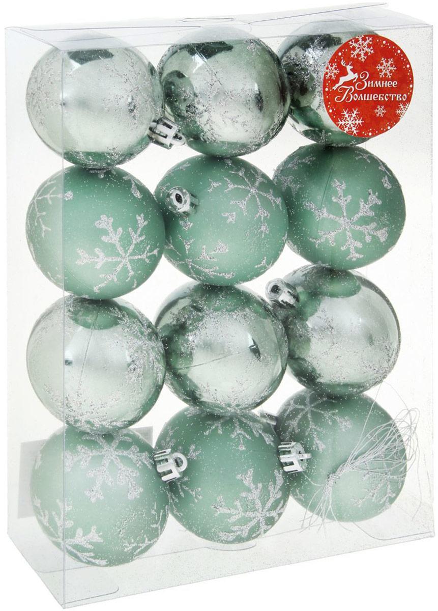 Набор новогодних подвесных украшений Sima-land Снежинка, цвет: зеленый, диаметр 5,5 см, 12 шт1346736