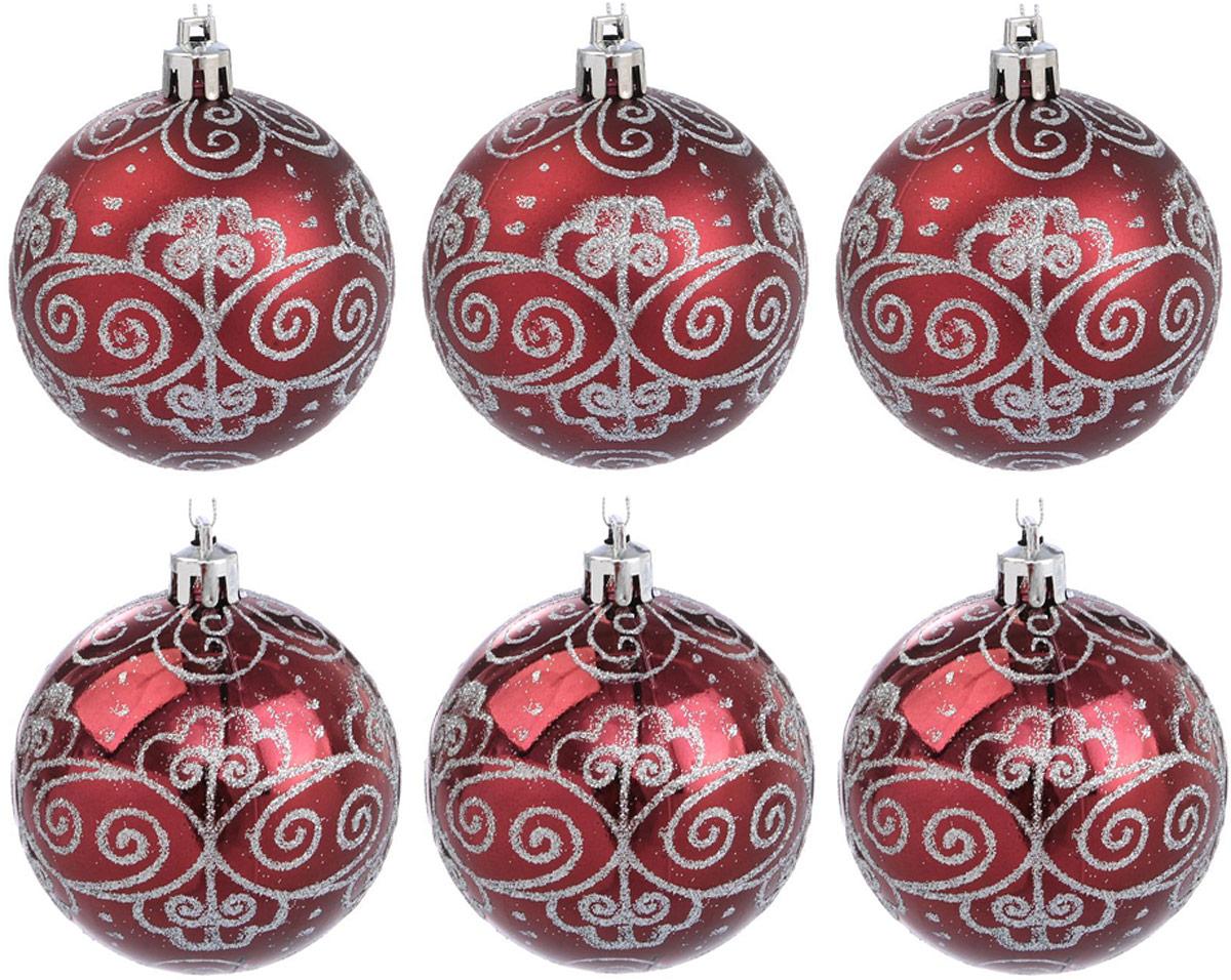 Набор новогодних подвесных украшений Sima-land Узорный, цвет: бордовый, диаметр 7 см, 6 шт2122948