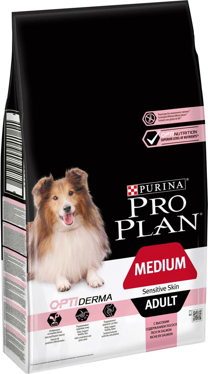 Корм сухой Pro Plan Adult Sensitive для собак с чувствительной кожей, с лососем и рисом, 7 кг сухой корм pro plan optiweight light sterilised adult all size с курицей для склонных к избыточному весу стерилизованных собак 14кг 12272558
