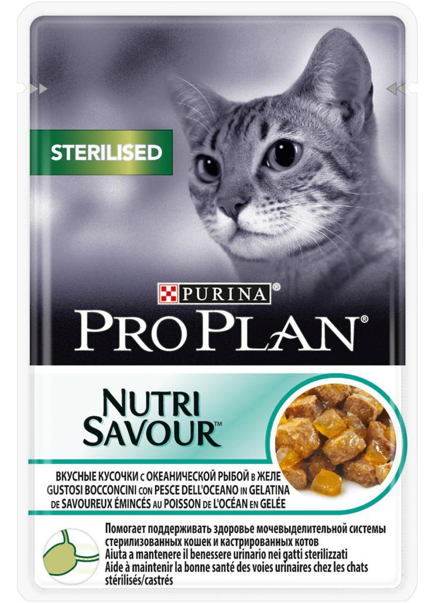 Консервы Pro Plan Nutri Savour, для взрослых стерилизованных кошек и кастрированных котов, с океанической рыбой, 85 гр консервы pro plan nutri savour для домашних кошек с лососем 85 г 24 шт