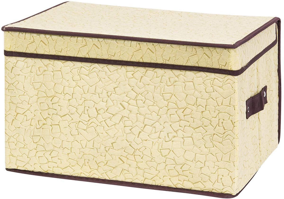 Кофр складной для хранения El Casa Песочная мозаика, 40 х 30 х 25 см370717Кофр для хранения представляет собой закрывающуюся крышкой коробку жесткой конструкции, благодаря наличию внутри плотных листов картона. Специально предназначен для защиты Вашей одежды от воздействия негативных внешних факторов: влаги и сырости, моли, выгорания, грязи. Позволит организовать хранение перчаток, ремней, шарфов. Имеет ручки для переноски. Размер 40х30х25 см.Кофр складной для хранения 40*30*25 см. EL Casa Песочная мозаика + 2 ручки
