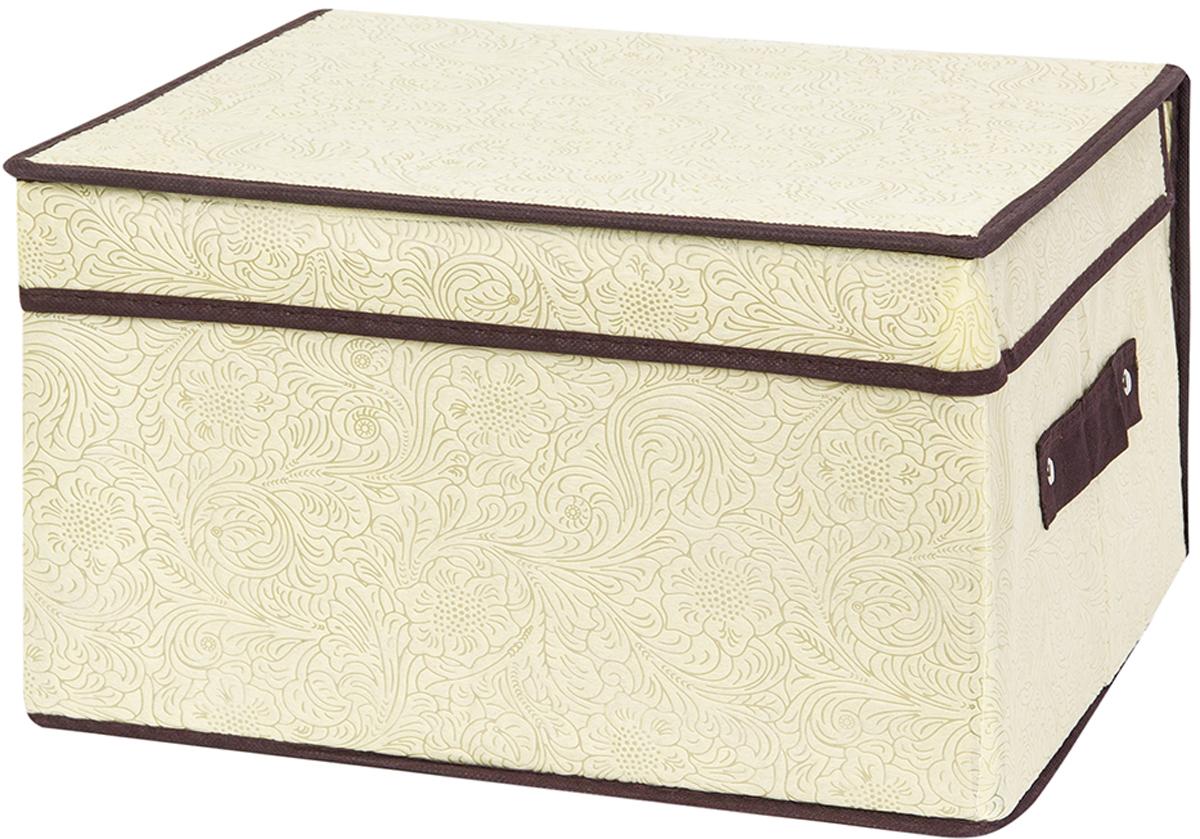 Кофр складной для хранения El Casa Цветы на золотом, 35 х 30 х 20 см