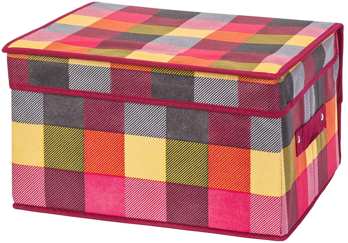 Кофр складной для хранения El Casa Яркая клетка, 35 х 30 х 20 см370742Кофр для хранения представляет собой закрывающуюся крышкой коробку жесткой конструкции, благодаря наличию внутри плотных листов картона. Для удобства у кофра есть ручка. Специально предназначен для защиты вашей одежды от воздействия негативных внешних факторов: влаги и сырости, моли, выгорания, грязи. Благодаря оригинальному дизайну кофр будет гармонично смотреться в любом интерьере.