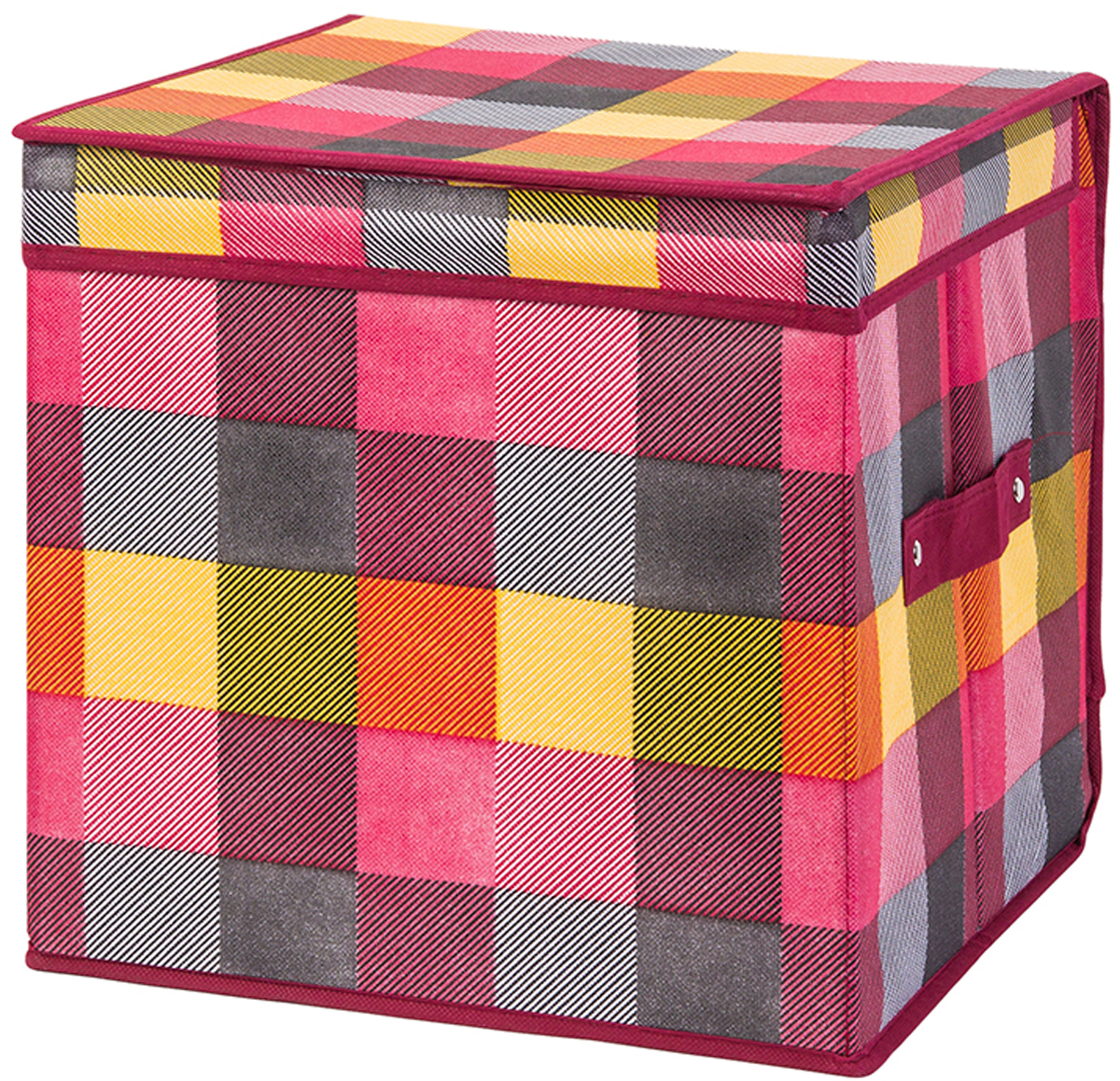 Кофр складной для хранения El Casa Яркая клетка, 31 х 31 х 31 см370753Кофр для хранения представляет собой закрывающуюся крышкой коробку жесткой конструкции, благодаря наличию внутри плотных листов картона. Специально предназначен для защиты Вашей одежды от воздействия негативных внешних факторов: влаги и сырости, моли, выгорания, грязи. Позволит организовать хранение перчаток, ремней, шарфов. Размер 31х31х31 см.Кофр складной для хранения 31*31*31 см. EL Casa Яркая клетка + ручка, квадрат