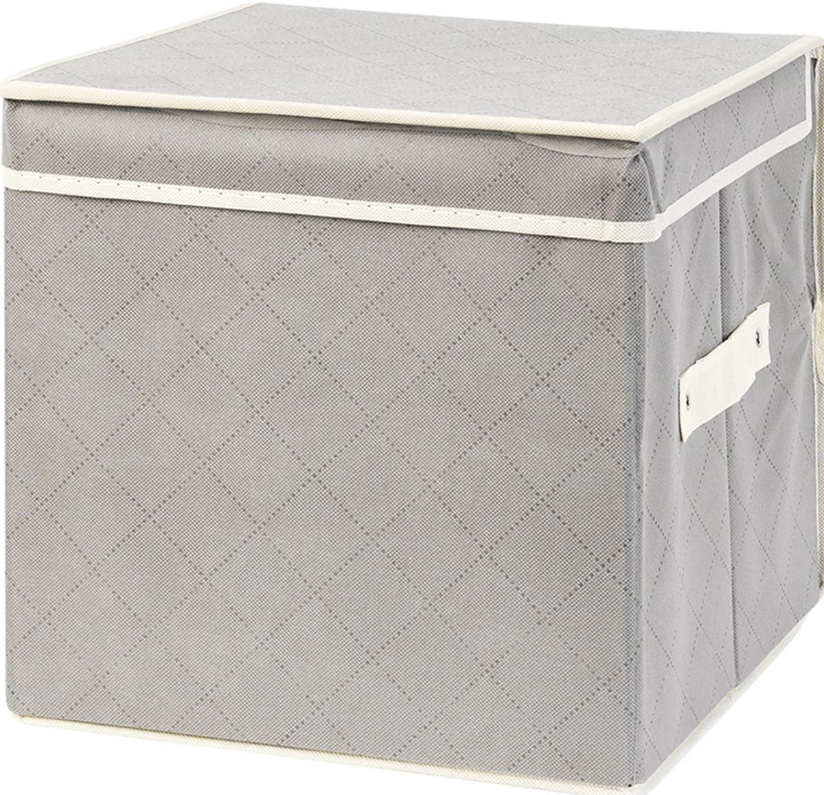 Кофр складной для хранения El Casa Геометрия стиля, 31 х 31 х 31 см370754Кофр для хранения представляет собой закрывающуюся крышкой коробку жесткой конструкции, благодаря наличию внутри плотных листов картона. Специально предназначен для защиты Вашей одежды от воздействия негативных внешних факторов: влаги и сырости, моли, выгорания, грязи. Позволит организовать хранение перчаток, ремней, шарфов. Размер 31х31х31 см.Кофр складной для хранения 31*31*31 см. EL Casa Геометрия стиля серебряный + ручка, квадрат