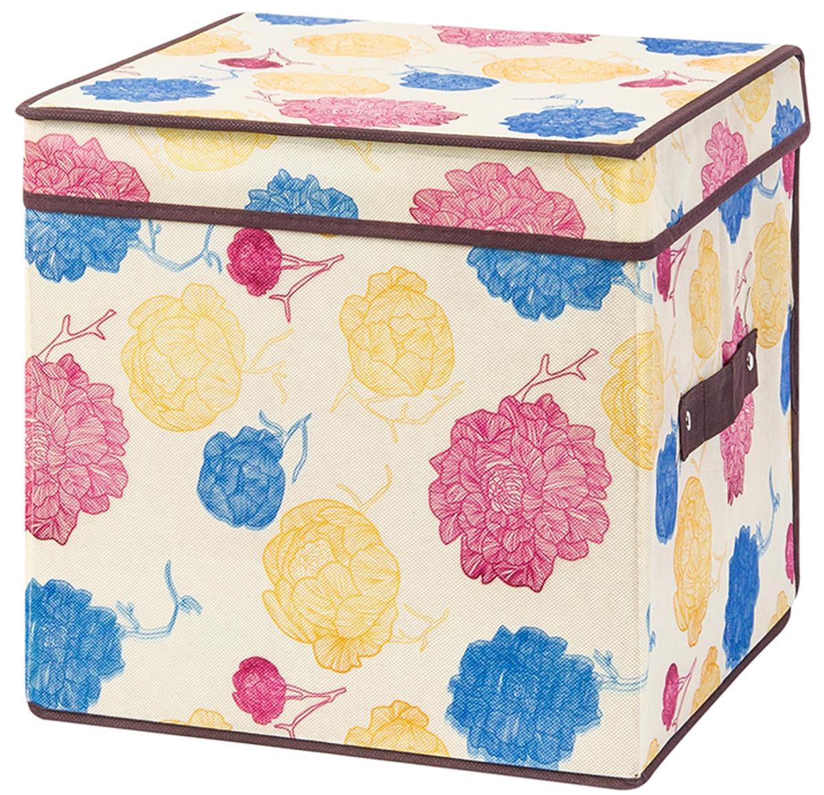 Кофр складной для хранения El Casa Яркие пионы, 31 х 31 х 31 см370755Кофр для хранения представляет собой закрывающуюся крышкой коробку жесткой конструкции, благодаря наличию внутри плотных листов картона. Специально предназначен для защиты Вашей одежды от воздействия негативных внешних факторов: влаги и сырости, моли, выгорания, грязи. Позволит организовать хранение перчаток, ремней, шарфов. Размер 31х31х31 см.Кофр складной для хранения 31*31*31 см. EL Casa Яркие пионы + ручка, квадрат