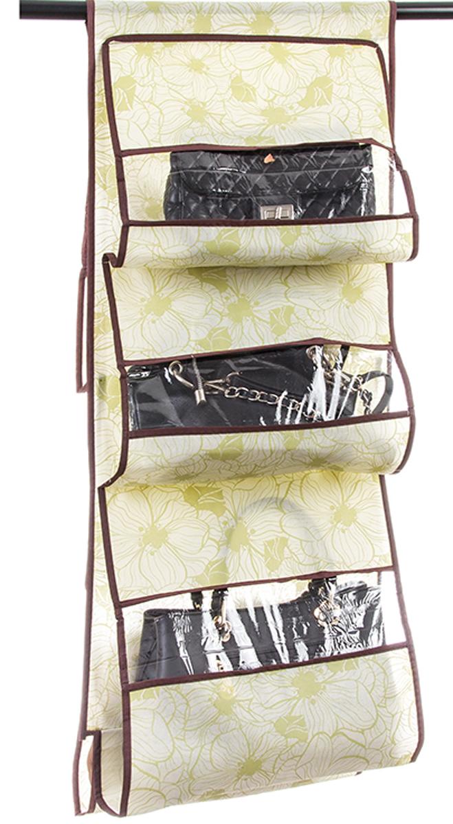 Кофр подвесной для сумок El Casa Цветы на бежевом, 5 секций, 40 х 90 см370759Кофр подвесной для сумок с 5 прозрачными секциями изготовлен из высококачественного материала. В шкафу всегда будет порядок, так как кофр для сумок не только очень компактен, но и, несмотря на свои размеры, вмещает множество вещей. Пять секций, расположенных с двух сторон, позволят вам удобно разместить свои сумочки, полотенца, зонтики и многое другое в легкодоступном месте. Размер 40х90 см.Кофр подвесной для сумок 40*90 см. EL Casa Цветы на бежевом 5 секций
