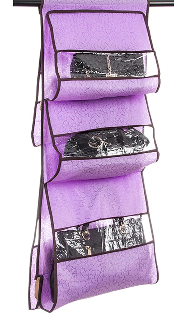 Кофр подвесной для сумок El Casa Сиреневая мозаика, 5 секций, 40 х 90 см370762Кофр подвесной для сумок с 5 прозрачными секциями изготовлен из высококачественного материала. В шкафу всегда будет порядок, так как кофр для сумок не только очень компактен, но и, несмотря на свои размеры, вмещает множество вещей. Пять секций, расположенных с двух сторон, позволят вам удобно разместить свои сумочки, полотенца, зонтики и многое другое в легкодоступном месте. Размер 40х90 см.Кофр подвесной для сумок 40*90 см. EL Casa Сиреневая мозаика 5 секций