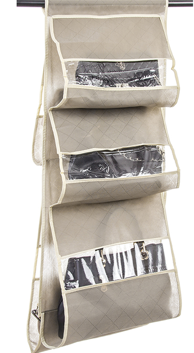 Кофр подвесной для сумок El Casa Геометрия стиля, 5 секций, 40 х 90 см коробки для хранения el casa набор 2 х кофров геометрия стиля молочный