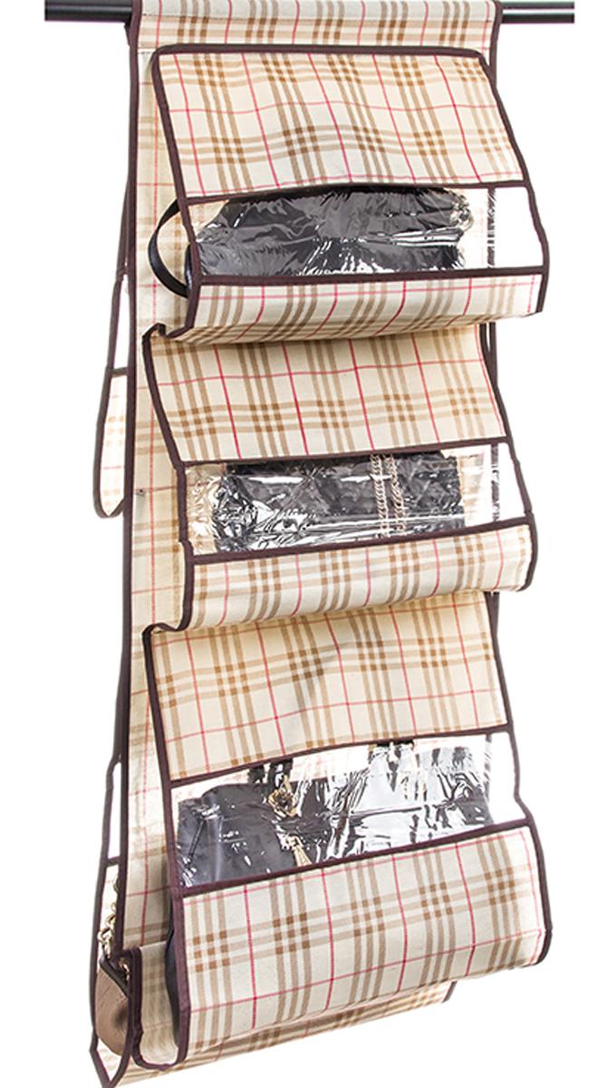 Кофр подвесной для сумок El Casa Шотландская клетка, 5 секций, 40 х 90 см370767Подвесной кофр для сумок El Casa с 5 прозрачными секциями изготовлен из высококачественного материала - ПОЛИЭСТЕРА. В шкафу всегда будет порядок, так как кофр для сумок не только очень компактен, но и, несмотря на свои размеры, вмещает множество вещей. Пять секций, расположенных с двух сторон, позволят вам удобно разместить свои сумочки, полотенца, зонтики и многое другое в легкодоступном месте. Размер: 40 х 90 см.