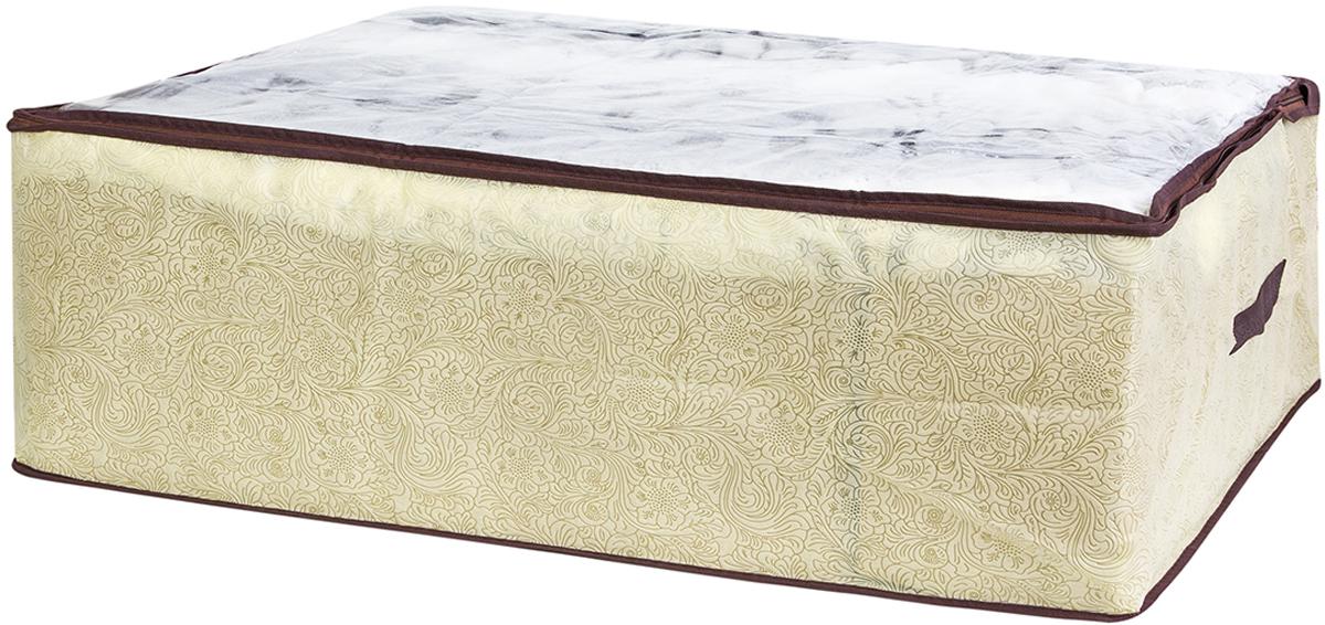 Кофр для хранения одеял и пледов El Casa Цветы на золотом, 80 х 60 х 25 см370769Вместительный мягкий кофр-чехол для хранения одеял, пледов и домашнего текстиля. Прозрачная вставка позволяет видеть содержимое кофра. Застегивается на молнию. Оригинальный дизайн отлично впишется в любой интерьер. Размер 80х60х25 см.Кофр для хранения одеял и пледов 80*60*25 см. EL Casa Цветы на золотом на молнии, с прозр. окош. + 2 ручки
