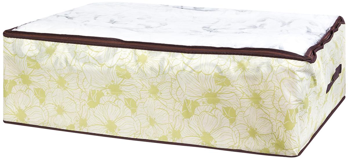 """El Casa """"Цветы на бежевом""""- вместительный мягкий кофр-чехол для хранения одеял, пледов и домашнего текстиля. Прозрачная вставка позволяет видеть содержимое кофра. Застегивается на молнию. Оригинальный дизайн отлично впишется в любой интерьер. Размер: 80 х 60 х 25 см."""