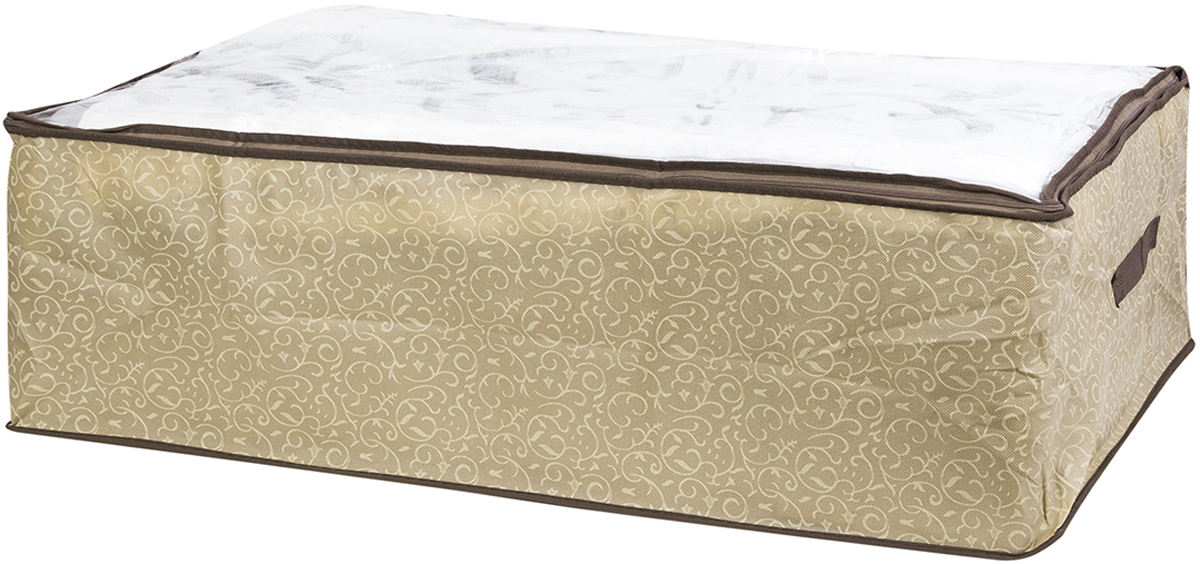 Кофр для хранения одеял и пледов El Casa Золотой узор, 80 х 60 х 25 см370771Вместительный мягкий кофр-чехол для хранения одеял, пледов и домашнего текстиля. Прозрачная вставка позволяет видеть содержимое кофра. Застегивается на молнию. Оригинальный дизайн отлично впишется в любой интерьер. Размер 80х60х25 см.Кофр для хранения одеял и пледов 80*60*25 см. EL Casa Золотой узор на молнии, с прозр. окош. + 2 ручки