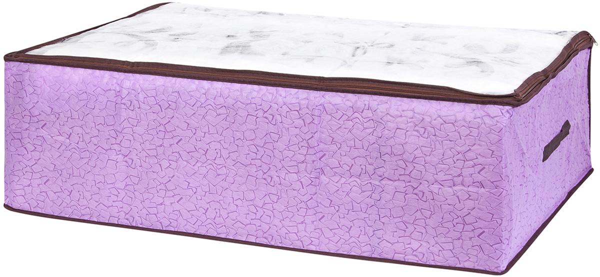 Кофр для хранения одеял и пледов El Casa Сиреневая мозаика, 80 х 60 х 25 см370773Вместительный мягкий кофр-чехол для хранения одеял, пледов и домашнего текстиля. Прозрачная вставка позволяет видеть содержимое кофра. Застегивается на молнию. Оригинальный дизайн отлично впишется в любой интерьер. Размер 80х60х25 см.Кофр для хранения одеял и пледов 80*60*25 см. EL Casa Сиреневая мозаика на молнии, с прозр. окош.+2 ручки