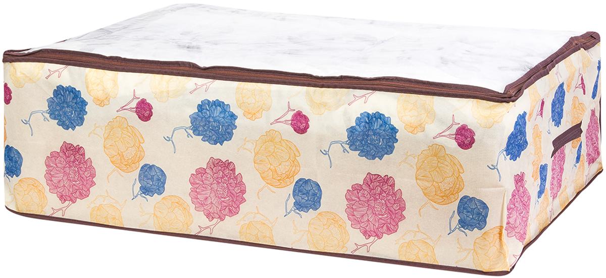 Кофр для хранения одеял и пледов El Casa Яркие пионы, 80 х 60 х 25 см370777Вместительный мягкий кофр-чехол для хранения одеял, пледов и домашнего текстиля. Прозрачная вставка позволяет видеть содержимое кофра. Застегивается на молнию. Оригинальный дизайн отлично впишется в любой интерьер. Размер 80х60х25 см.Кофр для хранения одеял и пледов 80*60*25 см. EL Casa Яркие пионы на молнии, с прозр. окош. + 2 ручки