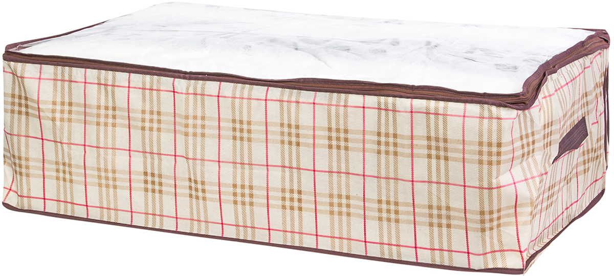 Кофр для хранения одеял и пледов El Casa Шотландская клетка, 80 х 60 х 25 см370778Вместительный мягкий кофр-чехол для хранения одеял, пледов и домашнего текстиля. Прозрачная вставка позволяет видеть содержимое кофра. Застегивается на молнию. Оригинальный дизайн отлично впишется в любой интерьер. Размер 80х60х25 см.Кофр для хранения одеял и пледов 80*60*25 см. EL Casa Шотландская клетка на молнии, с прозр. окош.+2 ручки