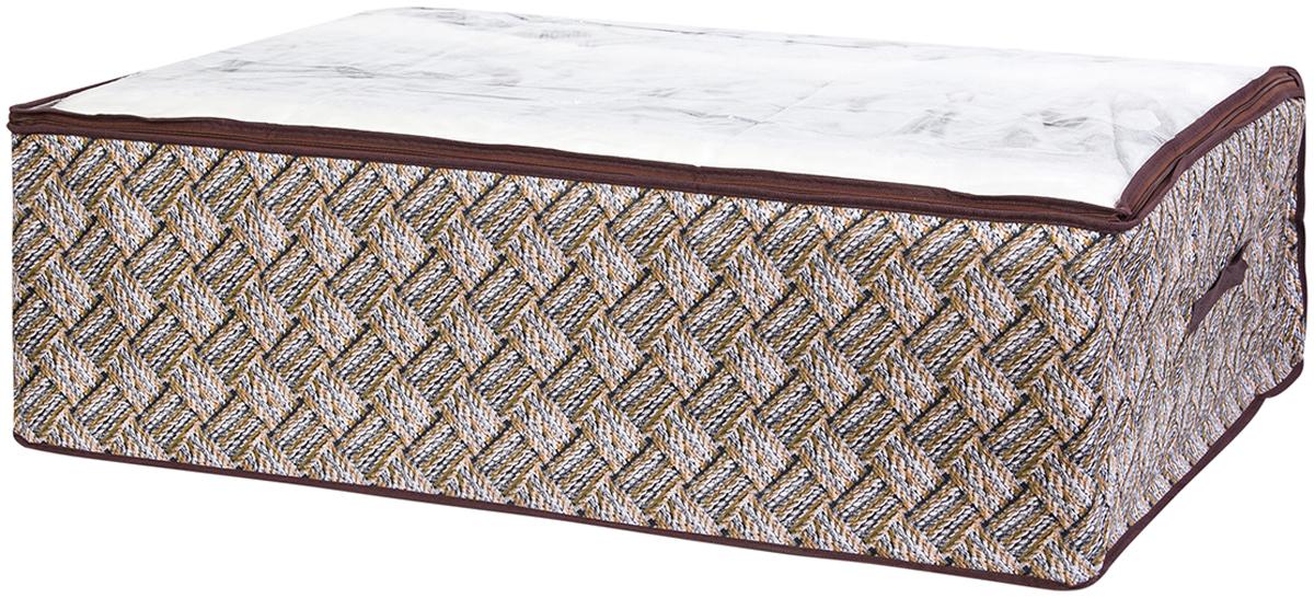 Кофр для хранения одеял и пледов El Casa Плетенка, 80 х 60 х 25 см370779Вместительный мягкий кофр-чехол для хранения одеял, пледов и домашнего текстиля. Прозрачная вставка позволяет видеть содержимое кофра. Застегивается на молнию. Оригинальный дизайн отлично впишется в любой интерьер. Размер 80х60х25 см.Кофр для хранения одеял и пледов 80*60*25 см. EL Casa Плетенка серо - бежевый,на молнии,с прозр.ок+2 ручки