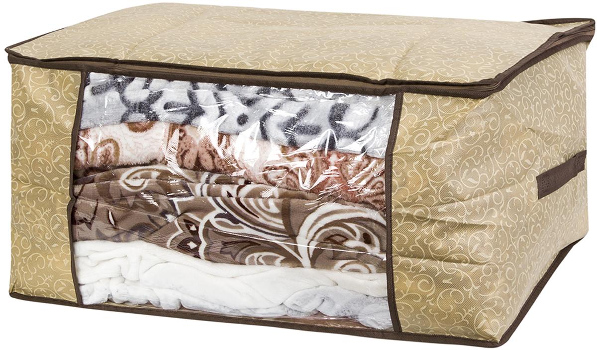 Кофр для хранения одеял и пледов El Casa Золотой узор, 60 х 45 х 30 см370782Вместительный мягкий кофр-чехол для хранения одеял, пледов и домашнего текстиля. Прозрачная вставка позволяет видеть содержимое кофра. Застегивается на молнию. Оригинальный дизайн отлично впишется в любой интерьер. Размер 60х45х30 см.Кофр для хранения одеял и пледов 60*45*30 см. EL Casa Золотой узор на молнии, с прозр. окош + 2 ручки