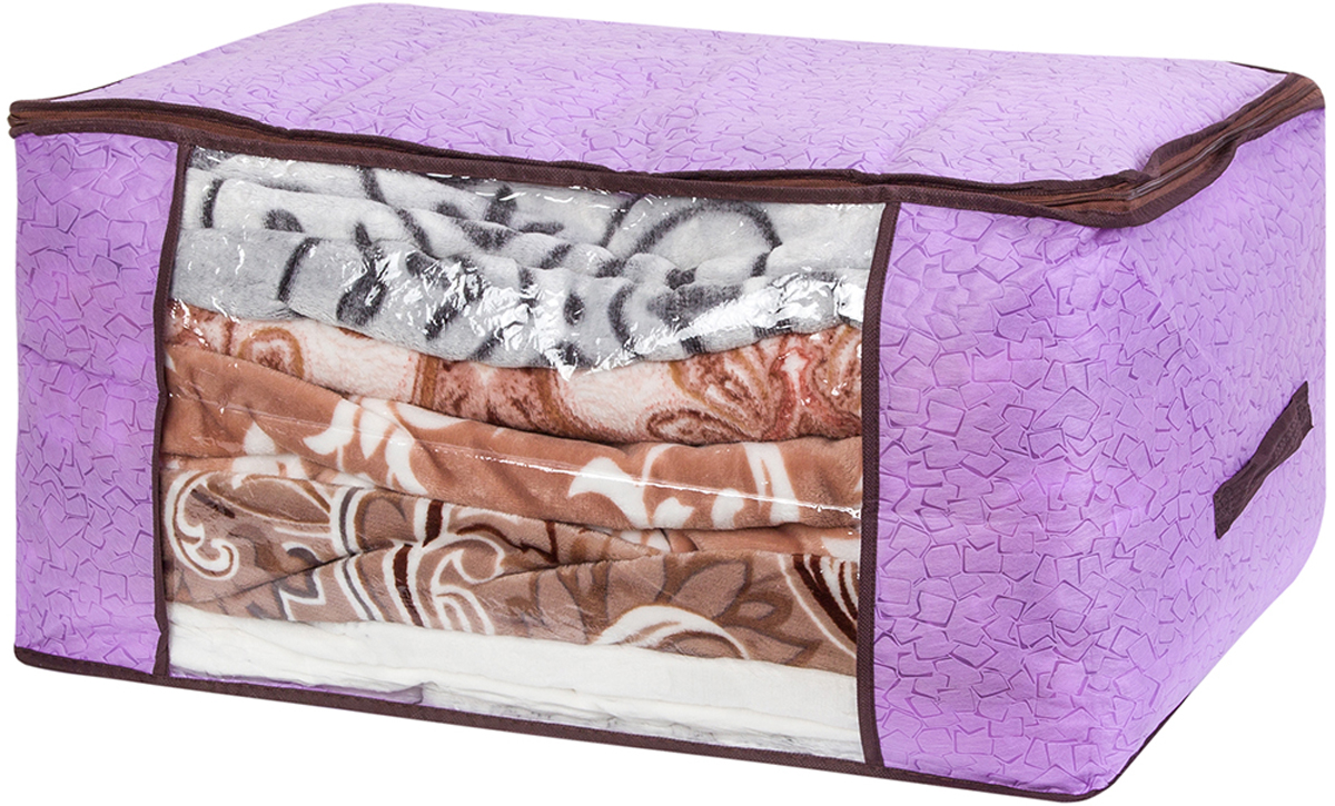 Кофр для хранения одеял и пледов El Casa Сиреневая мозаика, 60 х 45 х 30 см370784Вместительный мягкий кофр-чехол для хранения одеял, пледов и домашнего текстиля. Прозрачная вставка позволяет видеть содержимое кофра. Застегивается на молнию. Оригинальный дизайн отлично впишется в любой интерьер. Размер 60х45х30 см.Кофр для хранения одеял и пледов 60*45*30 см. EL Casa Сиреневая мозаика на молнии, с прозр. окош + 2 ручки