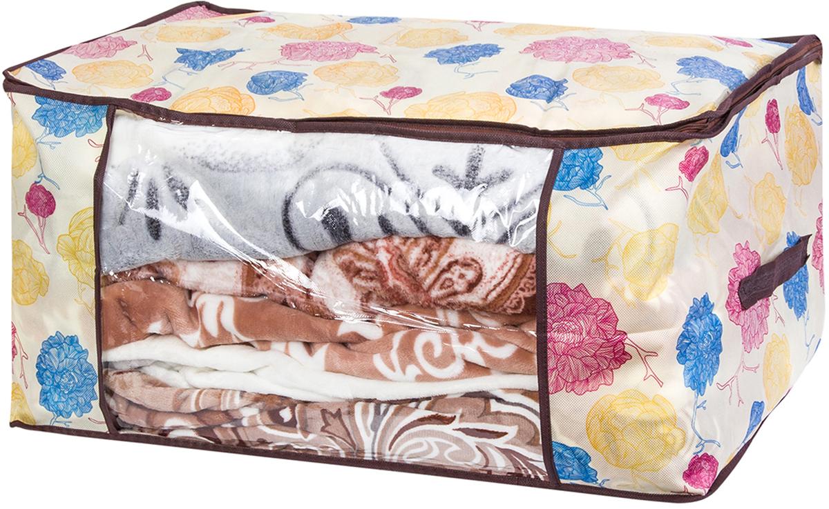 """Кофр для хранения одеял и пледов El Casa """"Яркие пионы"""" отличается вместительностью. Кофр имеет прозрачную вставку, это позволяет видеть содержимое чехла. Кофр застегивается на молнию. Есть две ручки. Чехол имеет оригинальный дизайн."""