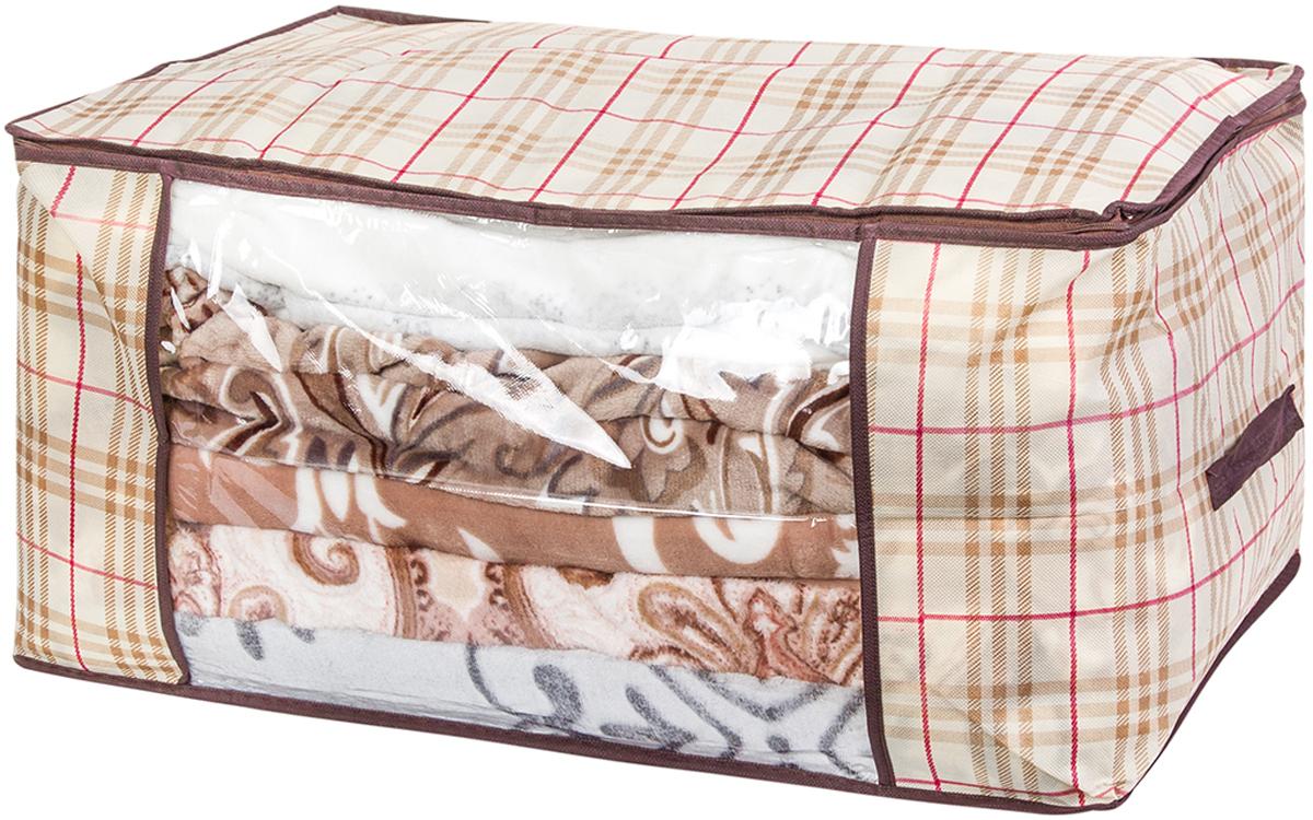 Кофр для хранения одеял и пледов El Casa Шотландская клетка, 60 х 45 х 30 см370789Вместительный мягкий кофр-чехол для хранения одеял, пледов и домашнего текстиля. Прозрачная вставка позволяет видеть содержимое кофра. Застегивается на молнию. Оригинальный дизайн отлично впишется в любой интерьер.Размер: 60х45х30 см.