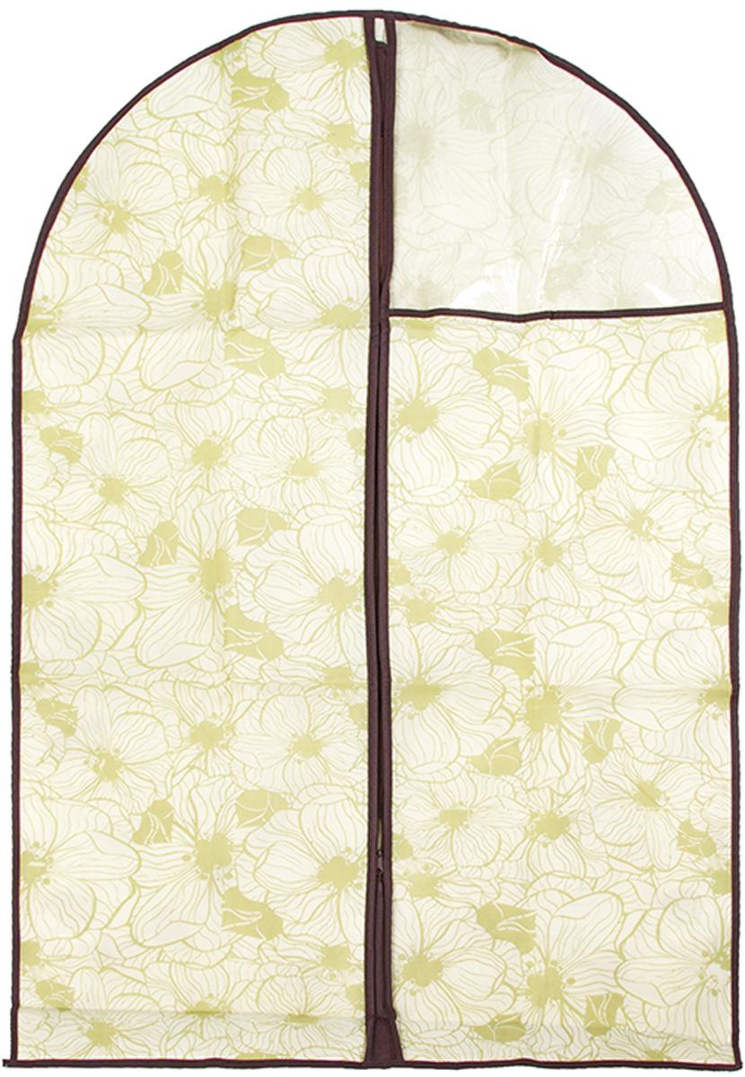 Чехол для одежды подвесной El Casa Цветы на бежевом, 60 х 100 см370792Чехол для одежды, изготовленный из высококачественного нетканого материала, защитит Вашу одежду от пыли и других загрязнений и поможет надолго сохранить ее безупречный вид. Благодаря особой фактуре чехол не пропускает пыль. Но в то же время позволяет воздуху свободно проникать внутрь, обеспечивая естественную вентиляцию. Материал легок и удобен, не образует складок. Застегивается на молнии. Окошко из пластика позволяет видеть, какие вещи находятся внутри. Размер 60х100см.Чехол для одежды подвесной 60*100 см. EL Casa Цветы на бежевом на молнии, с прозрачной вставкой