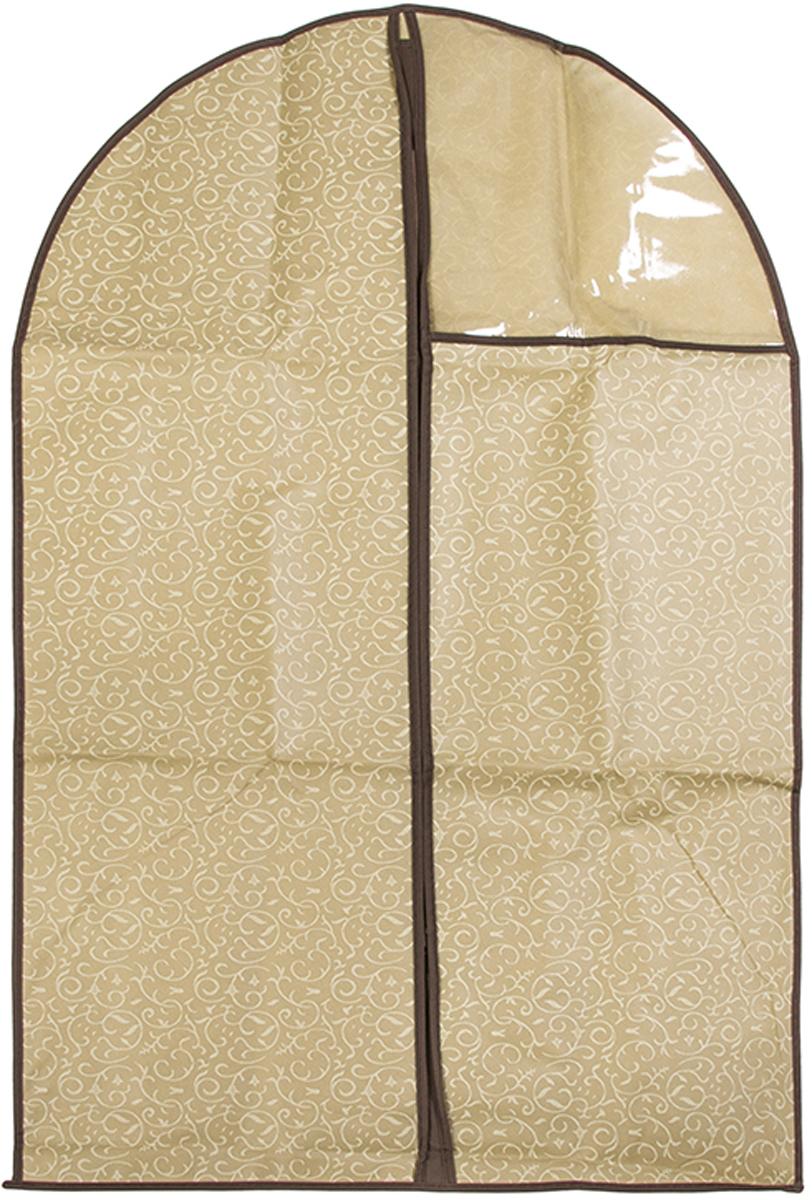 Чехол для одежды подвесной El Casa Золотой узор, 60 х 100 см370793Чехол для одежды, изготовленный из высококачественного нетканого материала, защитит Вашу одежду от пыли и других загрязнений и поможет надолго сохранить ее безупречный вид. Благодаря особой фактуре чехол не пропускает пыль. Но в то же время позволяет воздуху свободно проникать внутрь, обеспечивая естественную вентиляцию. Материал легок и удобен, не образует складок. Застегивается на молнии. Окошко из пластика позволяет видеть, какие вещи находятся внутри. Размер 60х100см.Чехол для одежды подвесной 60*100 см. EL Casa Золотой узор на молнии, с прозрачной вставкой