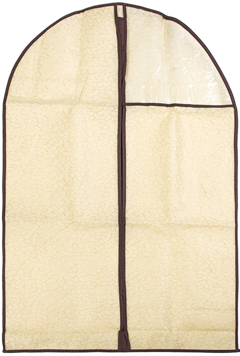 Чехол для одежды подвесной El Casa Песочная мозаика, 60 х 100 см370794Чехол для одежды, изготовленный из высококачественного нетканого материала, защитит Вашу одежду от пыли и других загрязнений и поможет надолго сохранить ее безупречный вид. Благодаря особой фактуре чехол не пропускает пыль. Но в то же время позволяет воздуху свободно проникать внутрь, обеспечивая естественную вентиляцию. Материал легок и удобен, не образует складок. Застегивается на молнии. Окошко из пластика позволяет видеть, какие вещи находятся внутри. Размер 60х100см.Чехол для одежды подвесной 60*100 см. EL Casa Песочная мозаика на молнии, с прозрачной вставкой