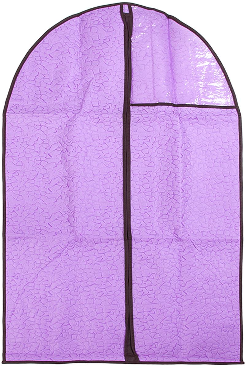 Чехол для одежды подвесной El Casa Сиреневая мозаика, 60 х 100 см370795Чехол для одежды, изготовленный из высококачественного нетканого материала, защитит Вашу одежду от пыли и других загрязнений и поможет надолго сохранить ее безупречный вид. Благодаря особой фактуре чехол не пропускает пыль. Но в то же время позволяет воздуху свободно проникать внутрь, обеспечивая естественную вентиляцию. Материал легок и удобен, не образует складок. Застегивается на молнии. Окошко из пластика позволяет видеть, какие вещи находятся внутри. Размер 60х100см.Чехол для одежды подвесной 60*100 см. EL Casa Сиреневая мозаика на молнии, с прозрачной вставкой